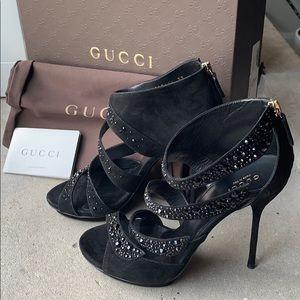 NWT Gucci | Swarovsky Crystal Black Heels | Sz 37